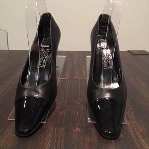 Salvatore Ferragamo Black Coated patent leather